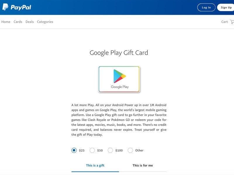 Cadeaux numériques Paypal